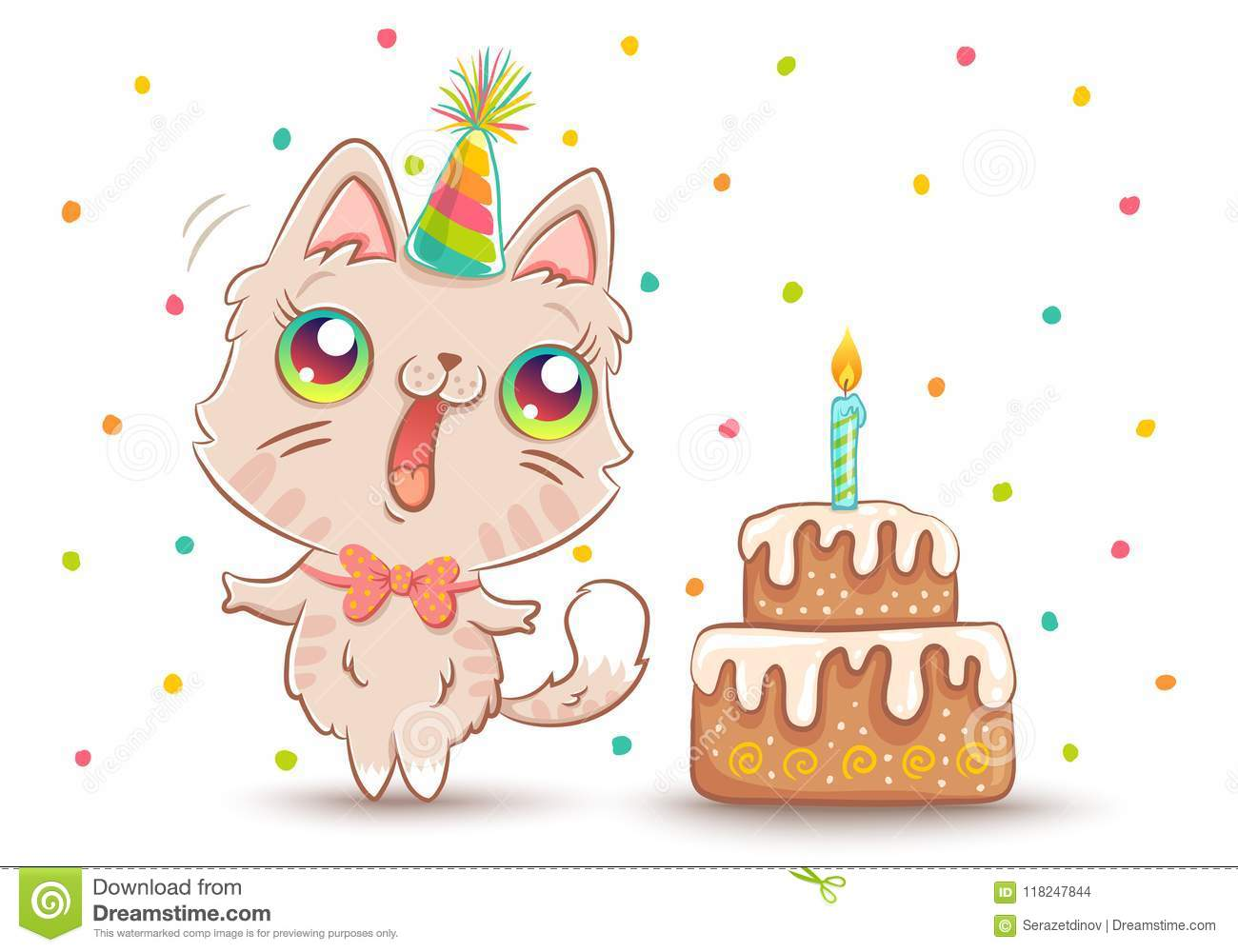 Cat With Birthday Cake Stock Vector Illustration Of Background