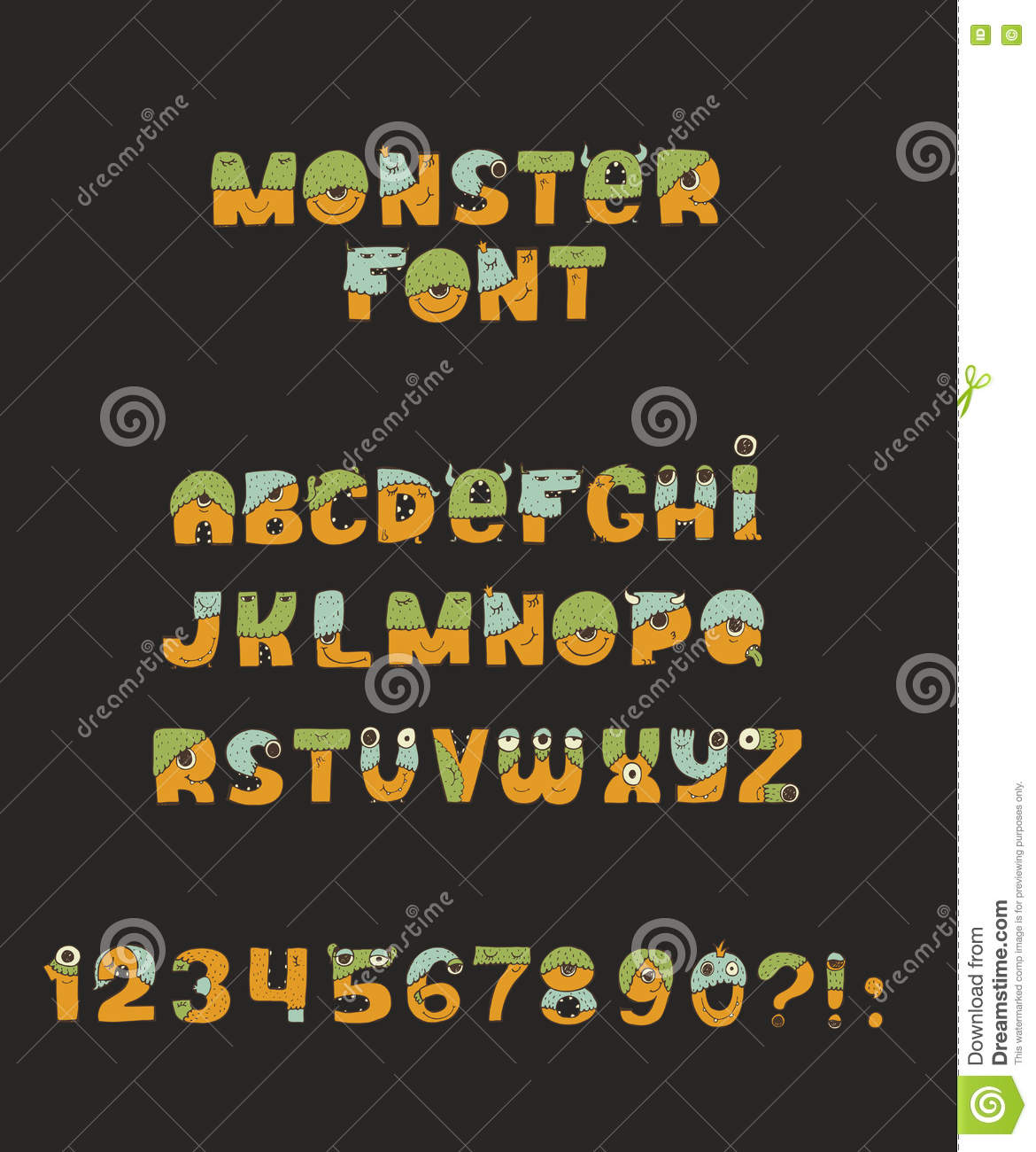 Vector cute colorful kind monster font. Every letter has unique design with fur, eyes, nose, mouth and teeth. Some have crowns and