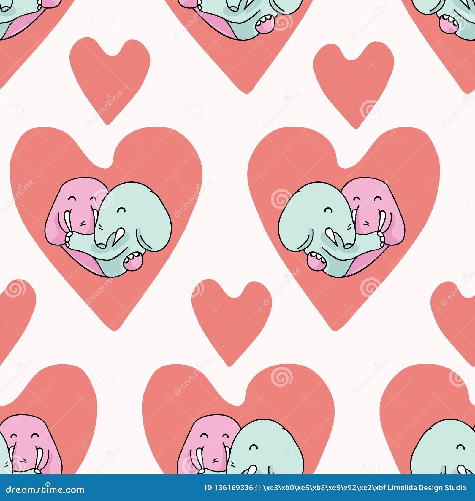 Vector cute elephant hug hearts Seamless repeat pattern