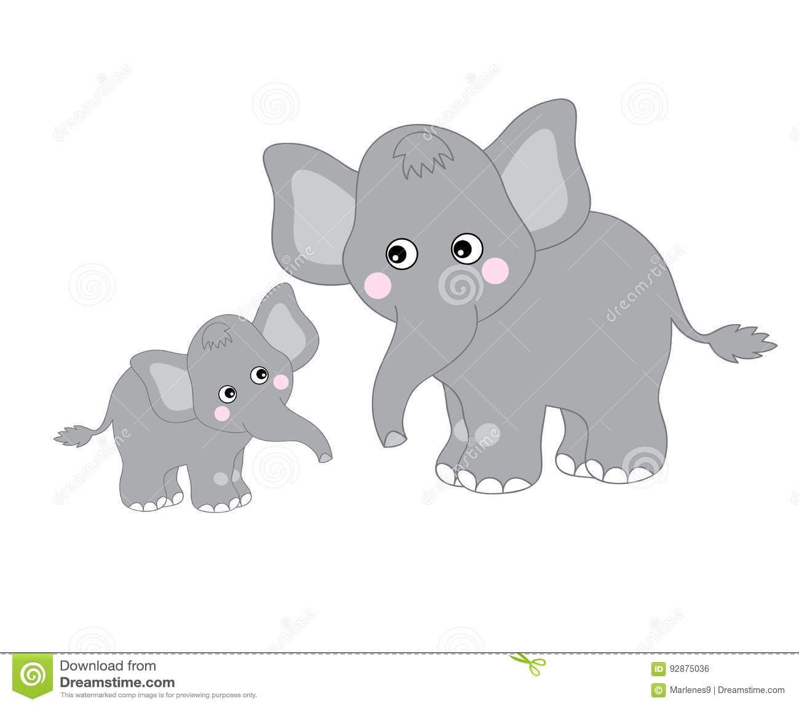Vector Cute Elephants stock vector. Illustration of ...