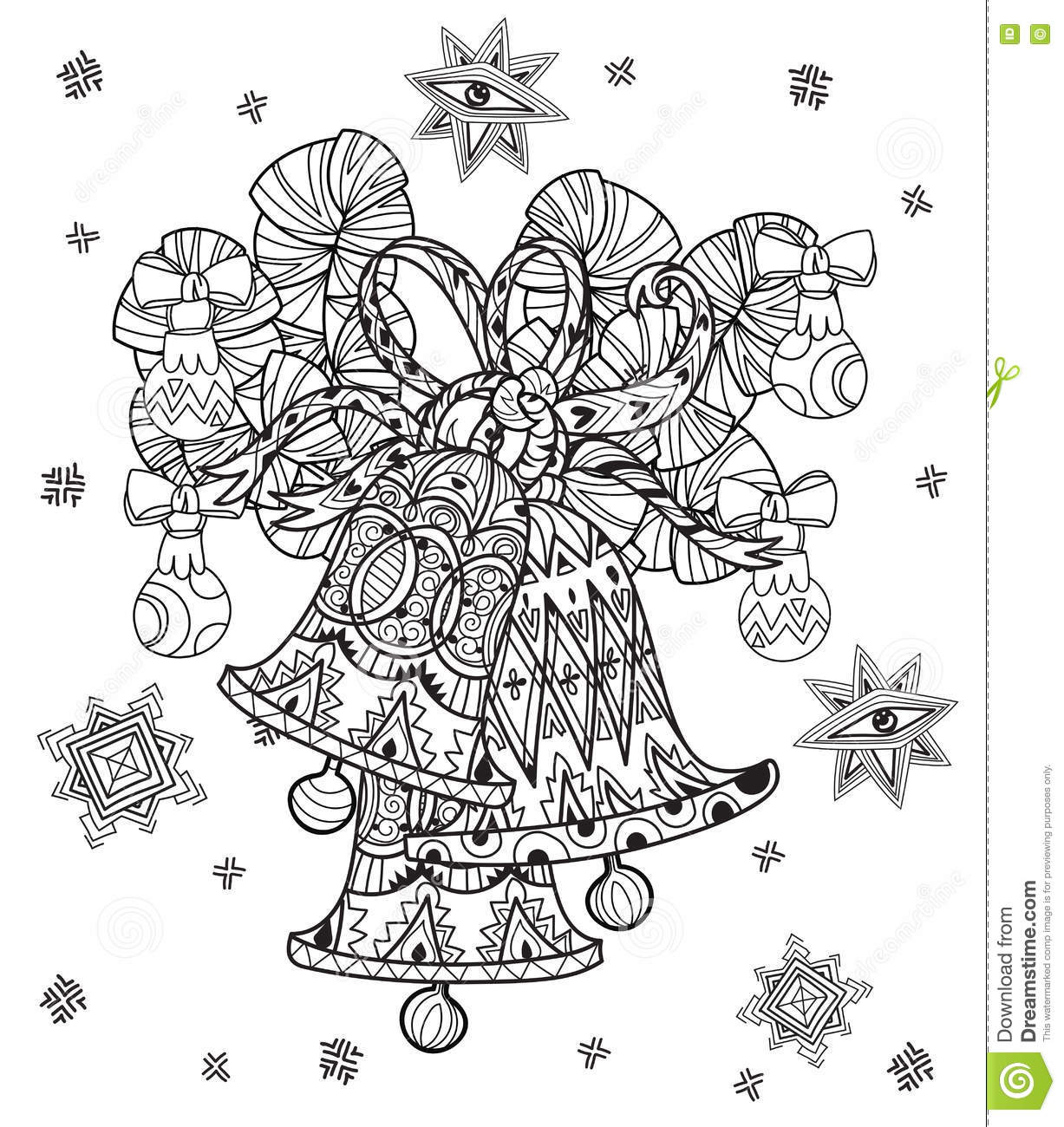 Vector cute fairy doodle christmas bells stock vector for Christmas fairy coloring pages