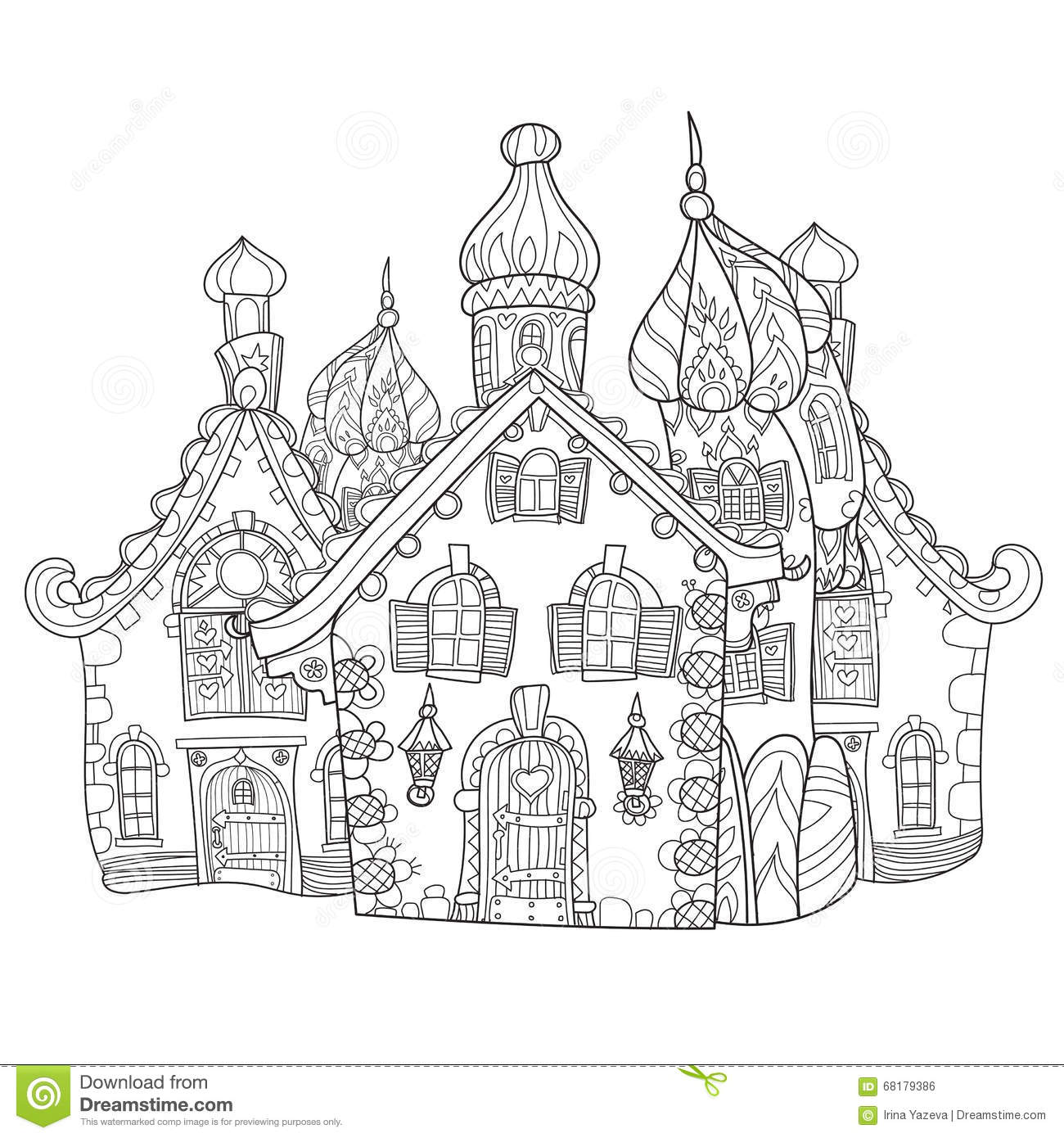 Vector cute fairy tale town doodle stock vector image for Sketch online free