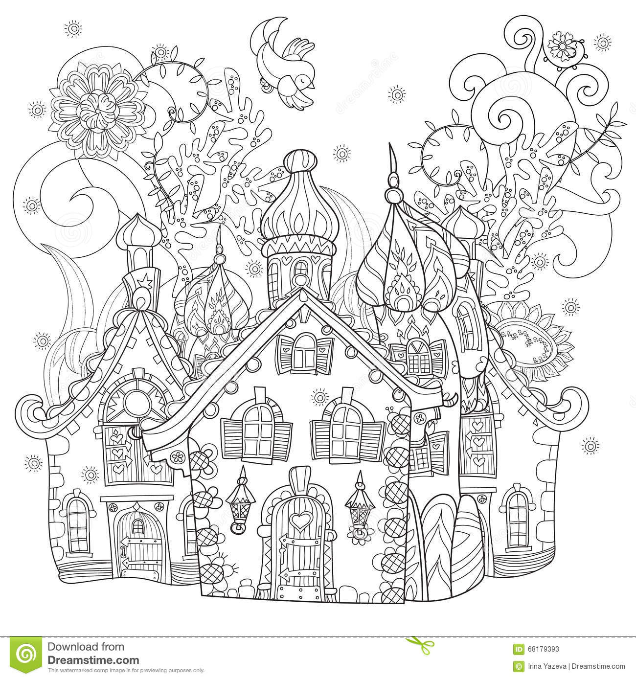 Vector Cute Fairy Tale Town Doodle Cartoon Vector