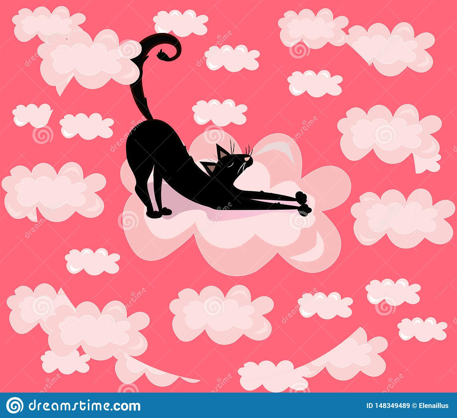 Vector cute, funny, cartoon illustration, print with black cat in the pink clouds.