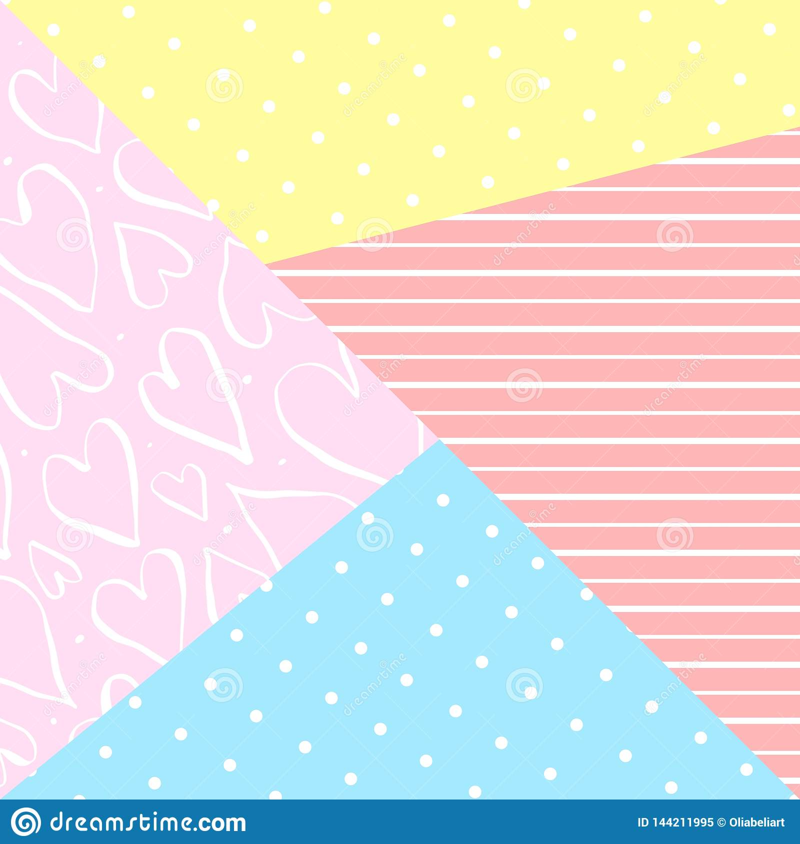 Vector cute geometric background with decor elements.