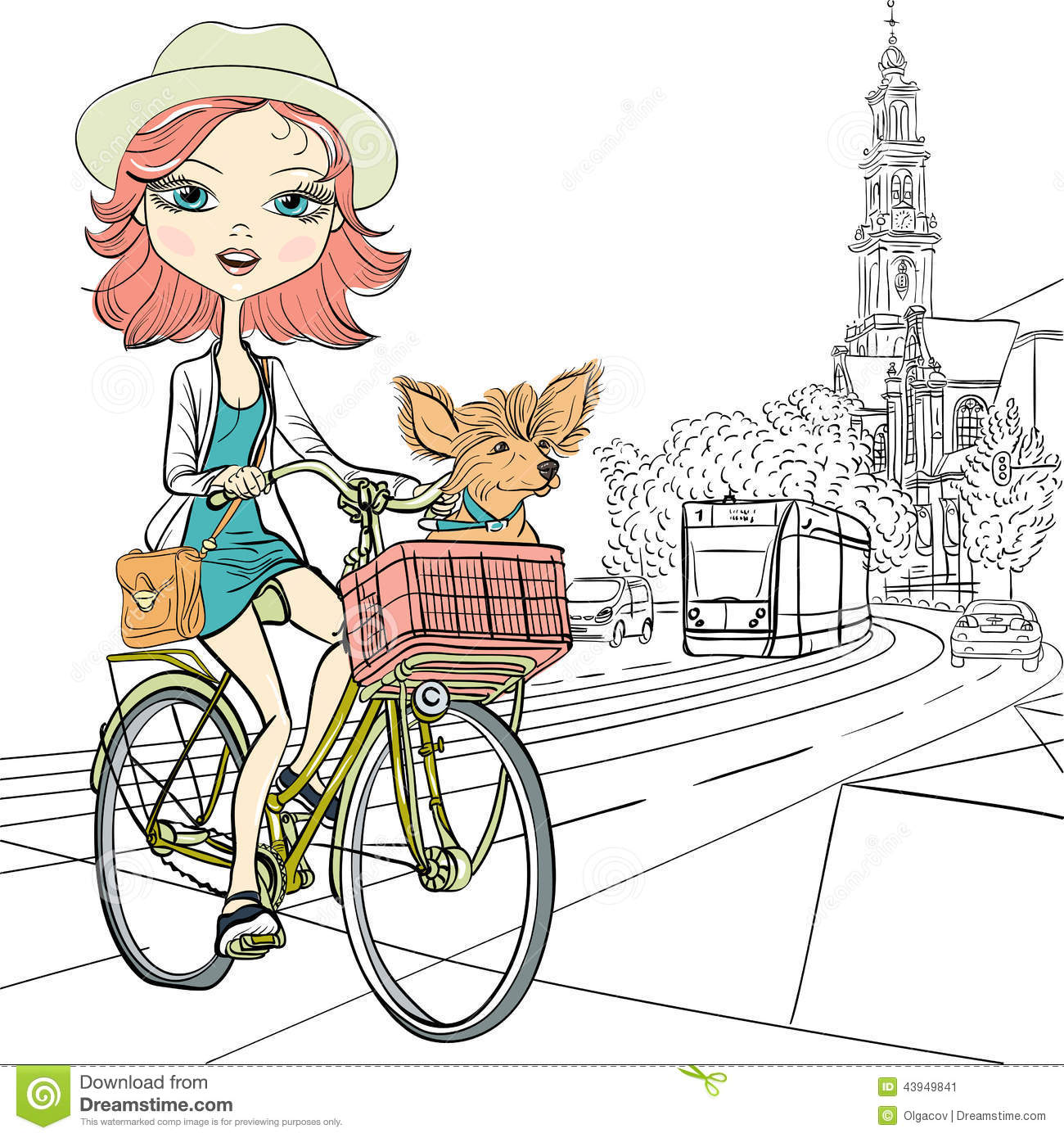 Vector Cute Girl With Dog On The Bike In Amsterdam Stock ...