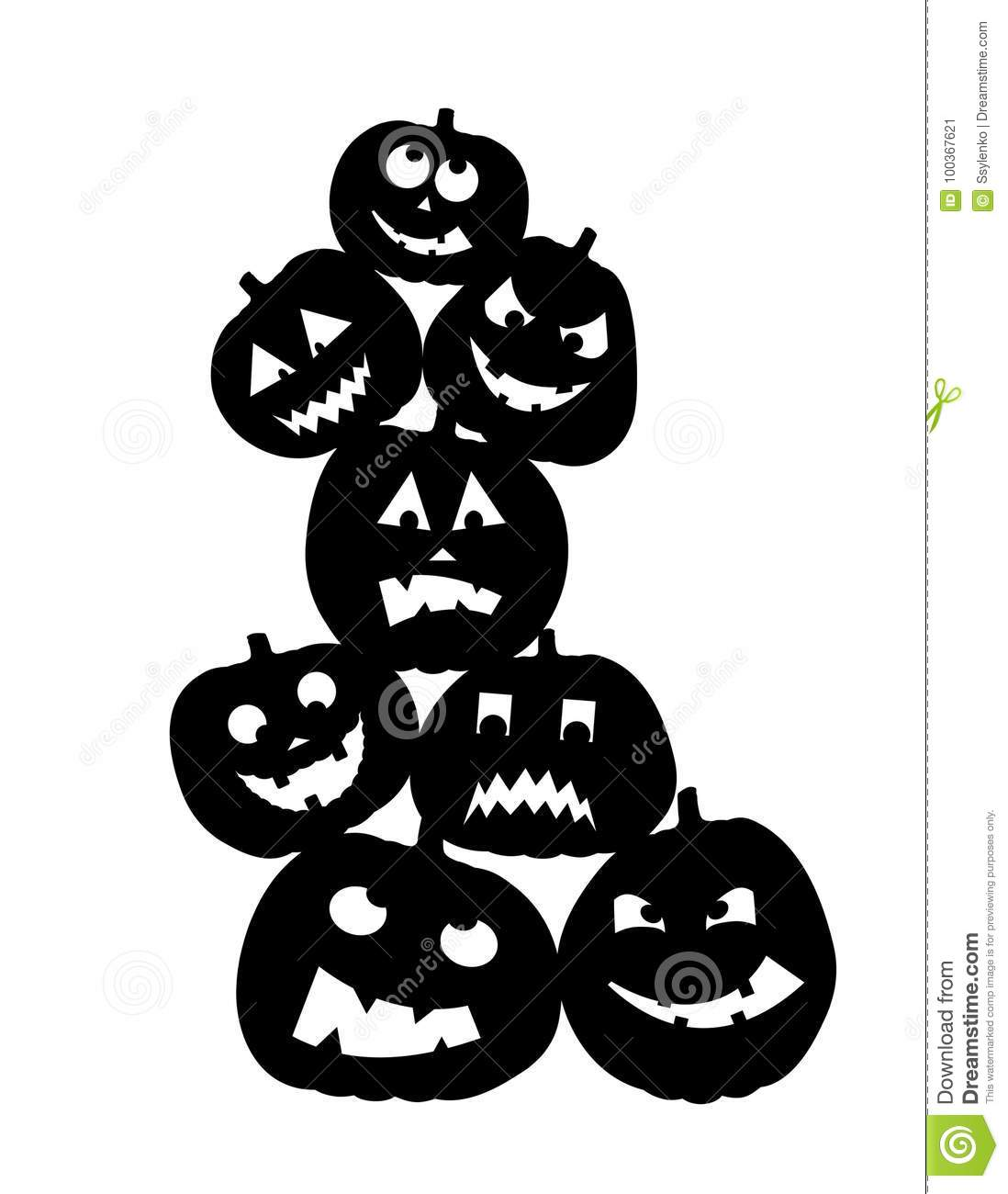 Vector Cute Happy Halloween Design Template. Funny And Evil Pumpkins ...