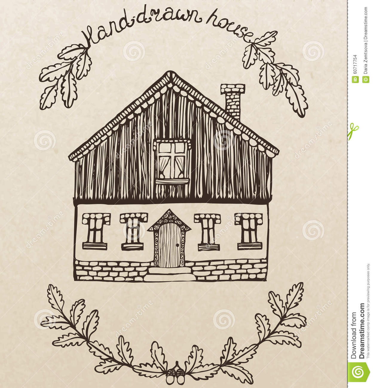 Vector Cute House With Chimney Stock Vector - Illustration ...