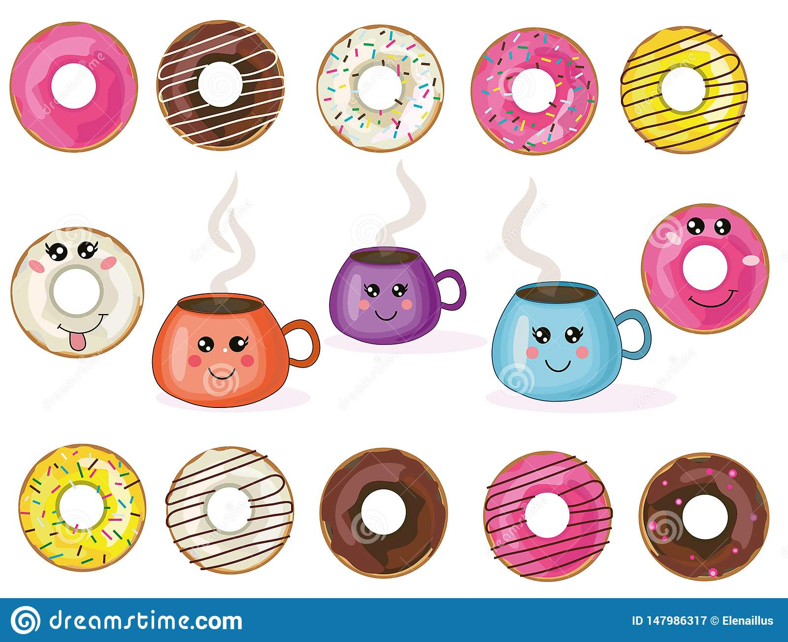 Vector cute kawaii donuts and cups collection,set.