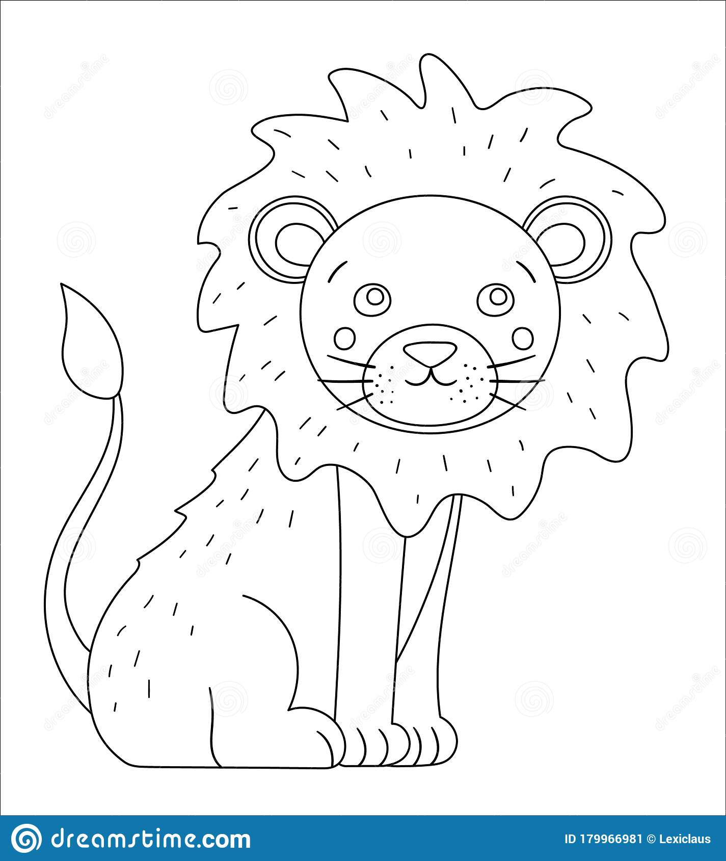 Vector Cute Lion Outline Funny Tropical Exotic Animal Black And White Illustration Fun Coloring Page For Children Jungle Summer Stock Vector Illustration Of Funny Black 179966981 Lion outline free vector we have about (9,528 files) free vector in ai, eps, cdr, svg vector illustration graphic art design format. dreamstime com