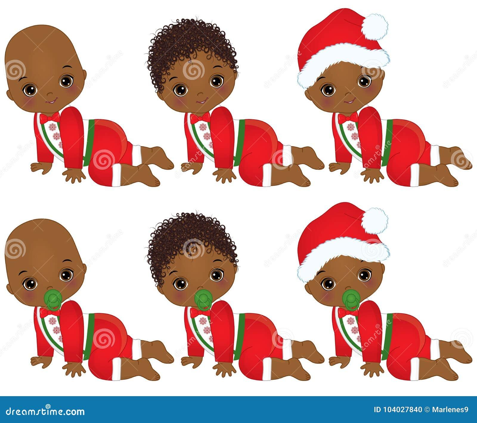 Vector Cute Little African American Baby Boys Wearing