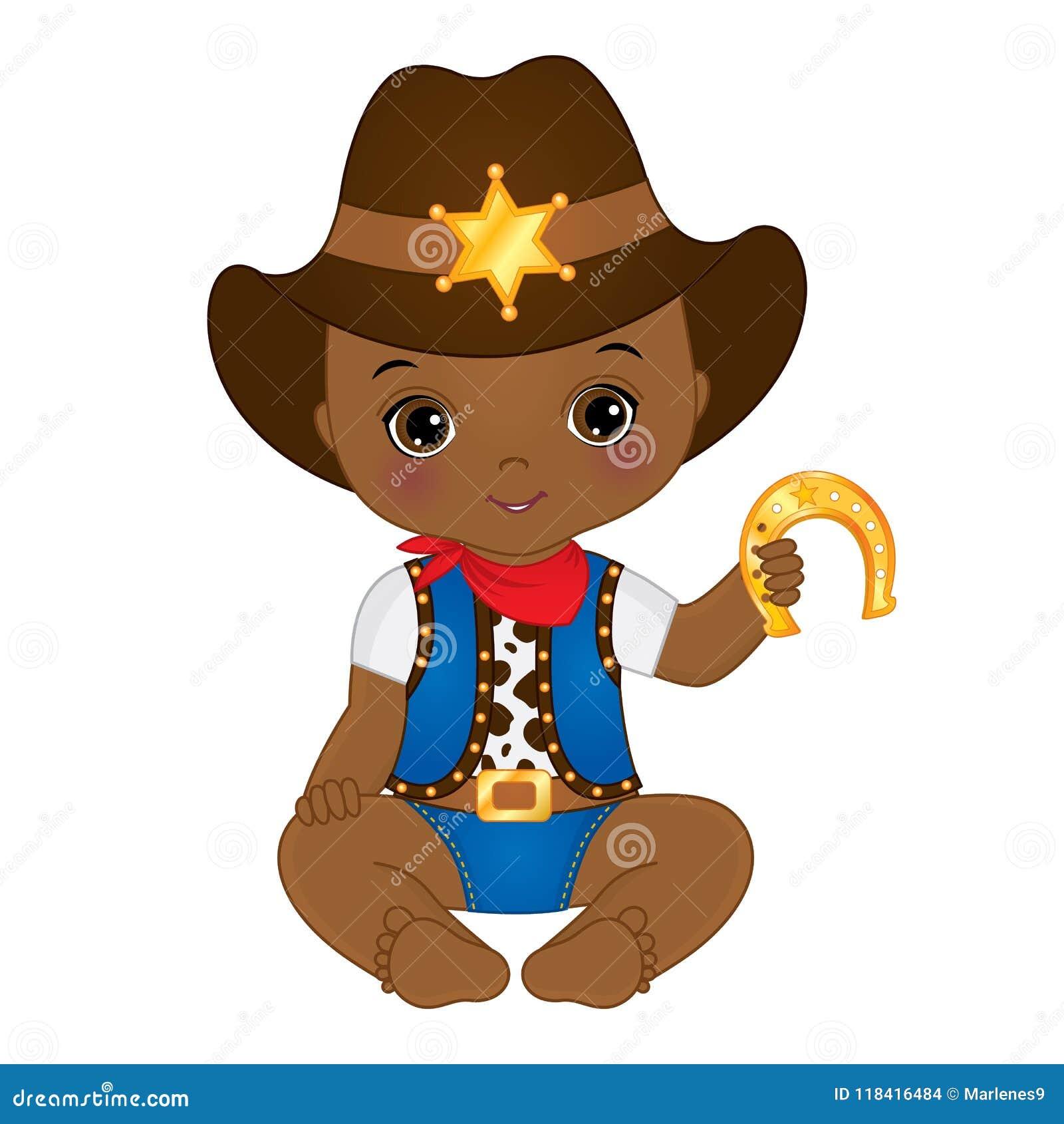 Vector Cute Little African American Baby Boy Dressed as Cowboy
