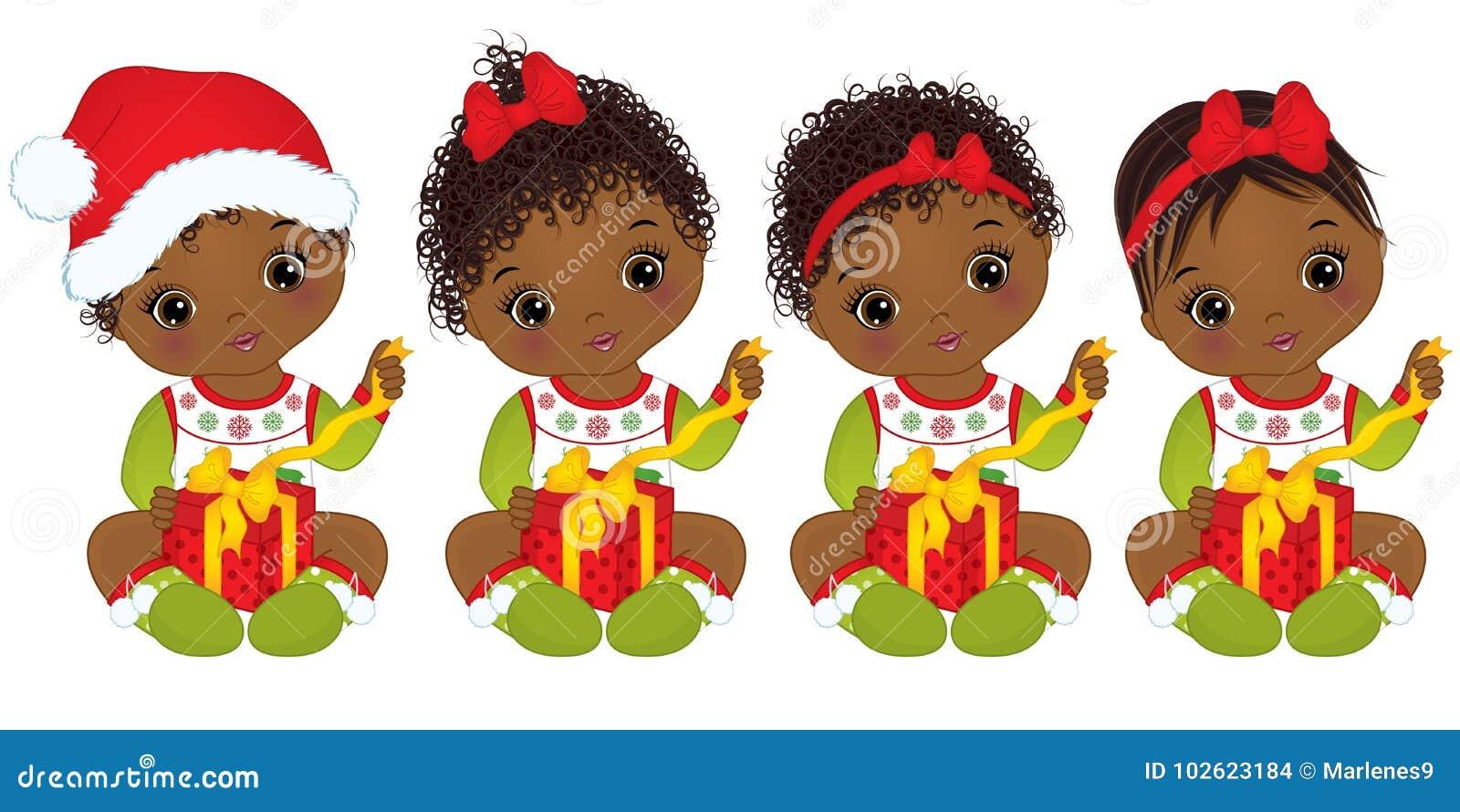 Download Vector Cute African American Baby Girl Wearing Christmas ...