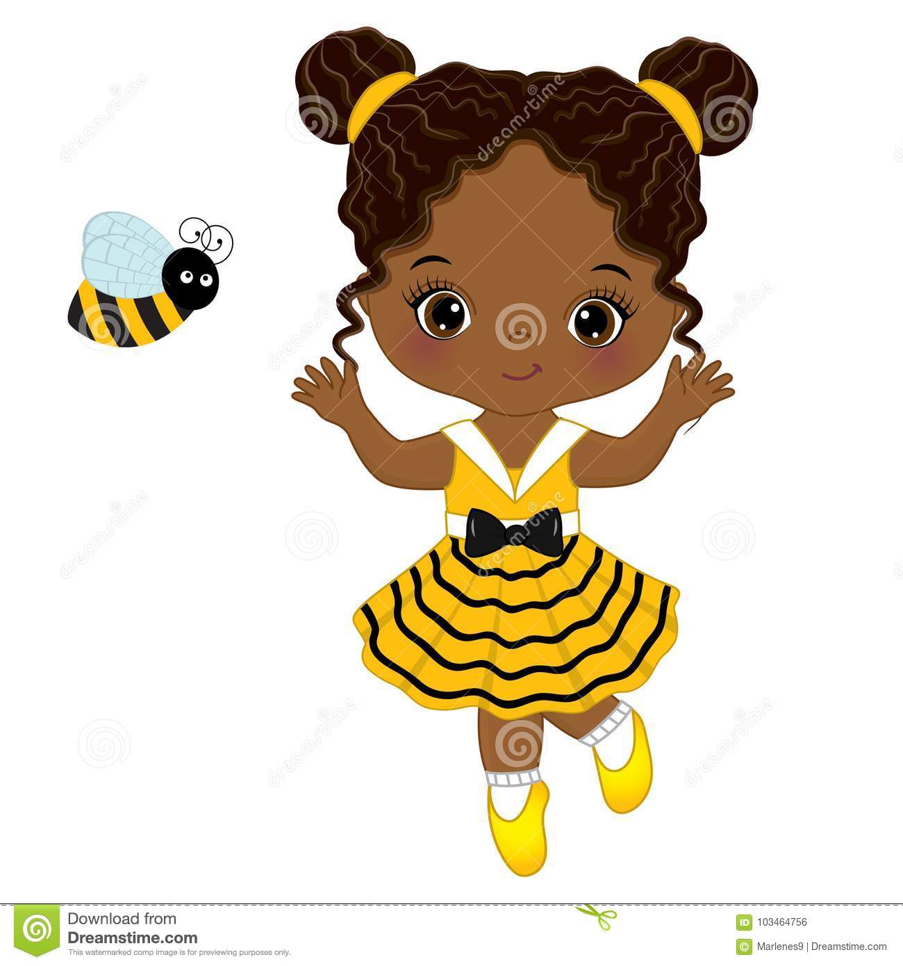 Download Vector Cute Little African American Girl With Bee Stock ...