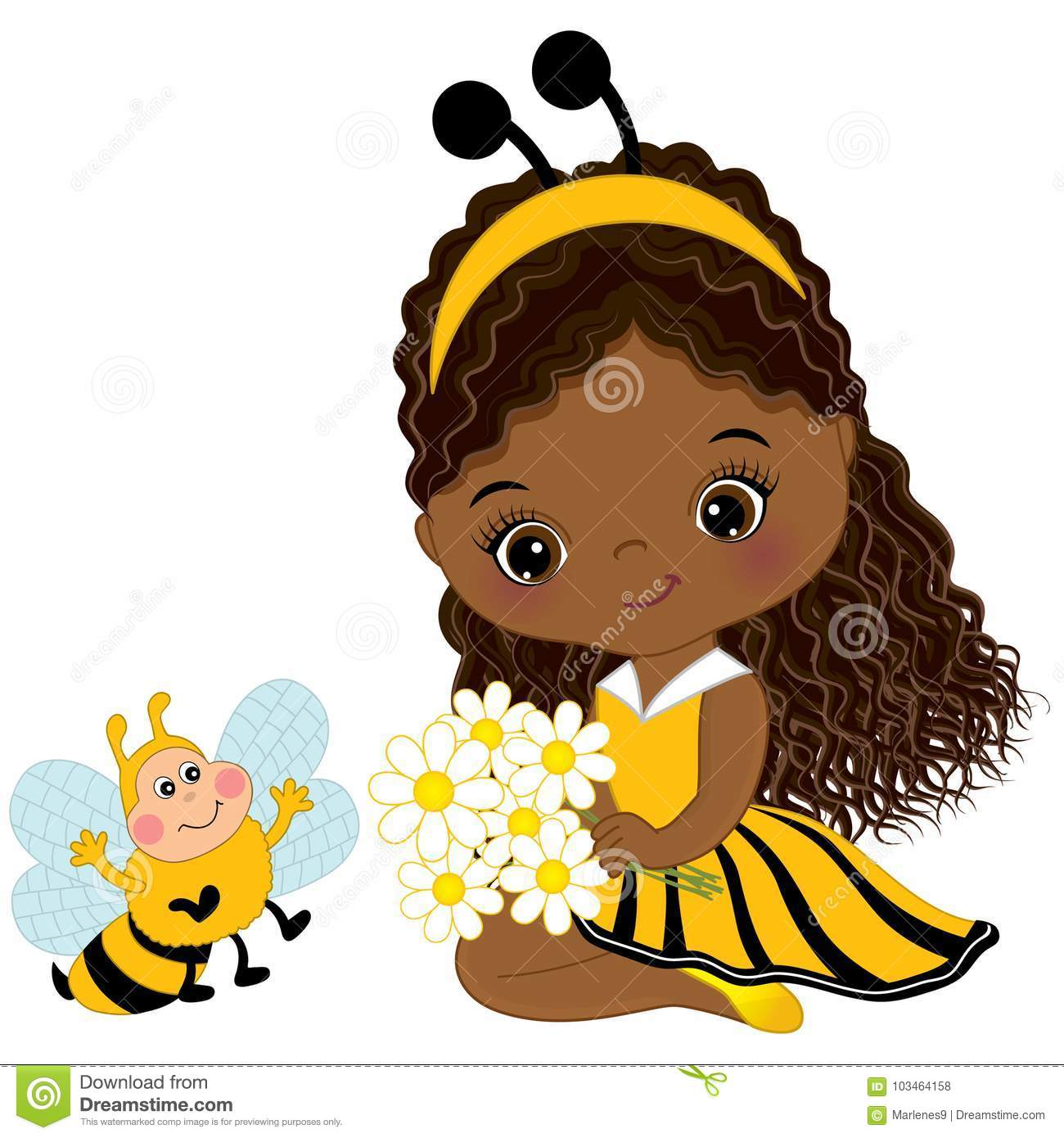 Vector Cute Little African American Girl with Bee and Flowers
