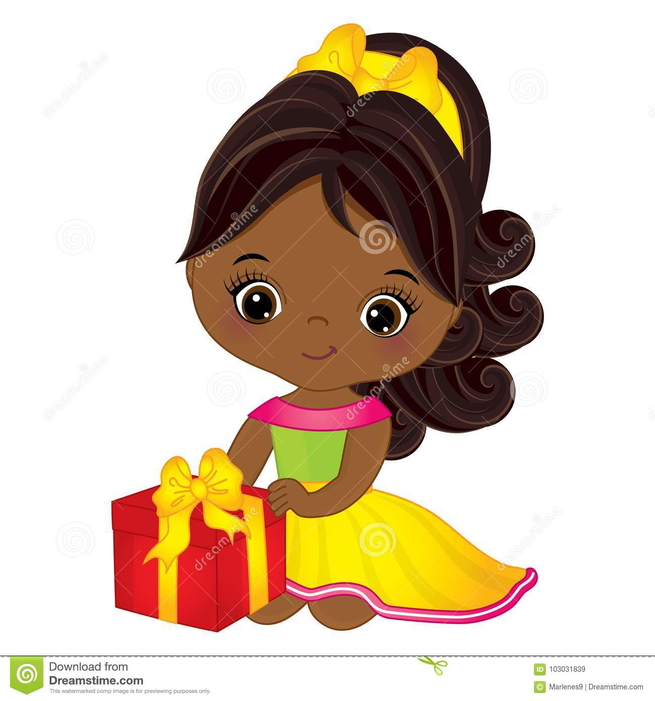 Download Vector Cute Little African American Girl With Gift Box ...