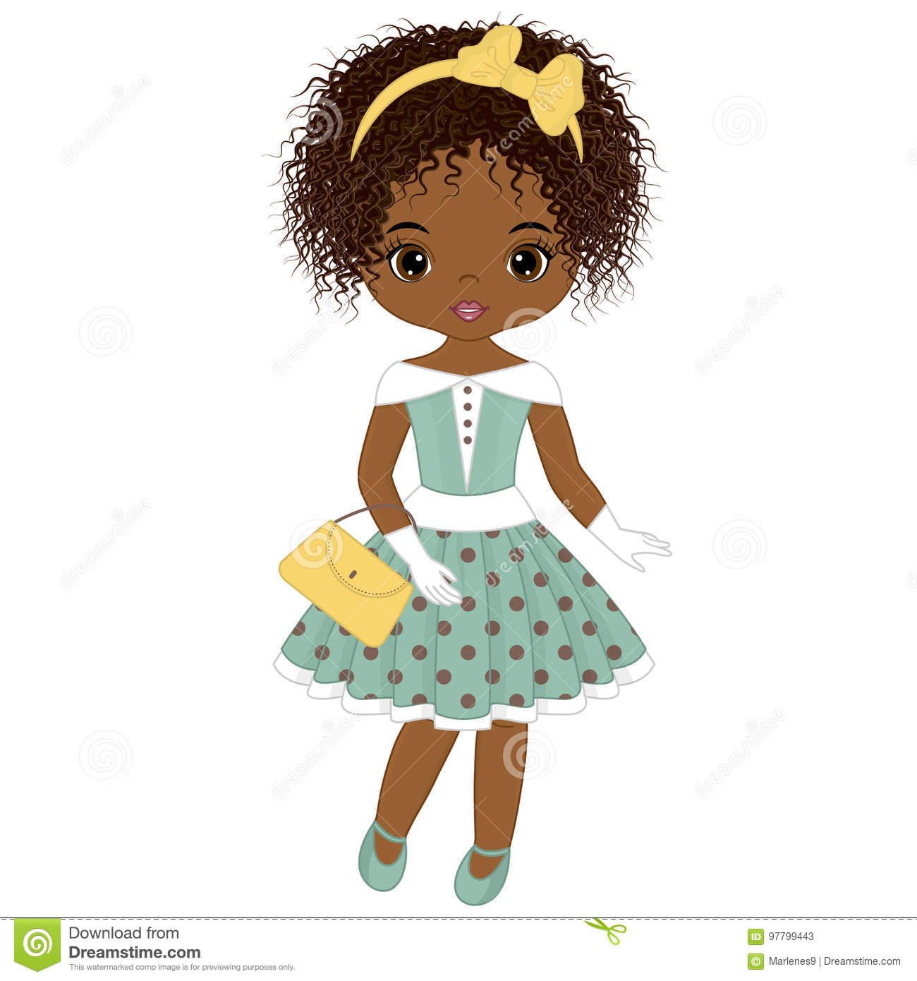 Download Vector Cute Little African American Girl In Retro Style ...