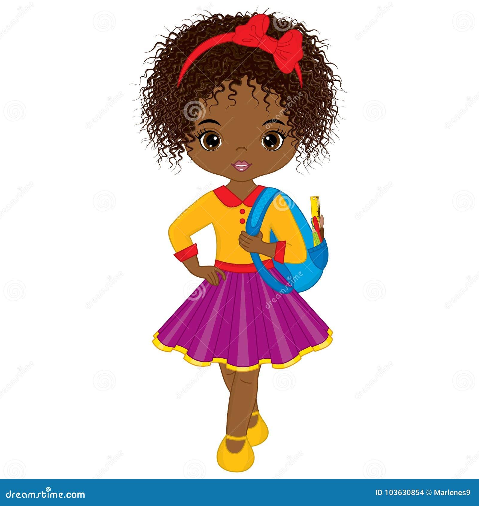 Download Vector Cute Little African American Girl With School Bag ...