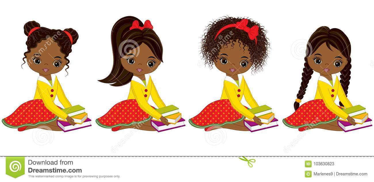 Download Vector Cute Little African American Girls With Books Stock ...