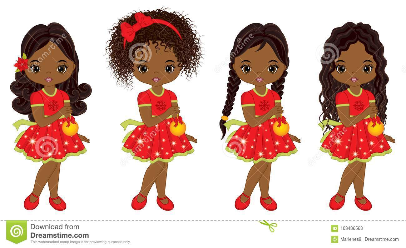 Download Vector Cute Little African American Girls With Christmas ...