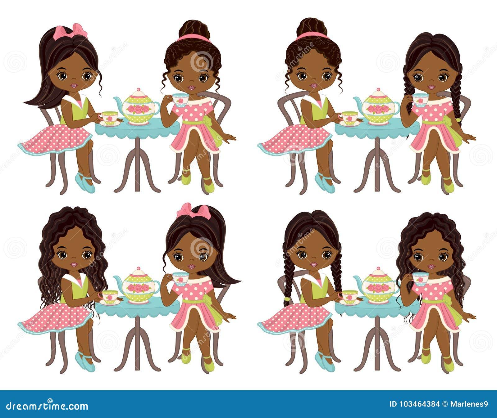 Download Vector Cute Little African American Girls Having Tea Stock ...