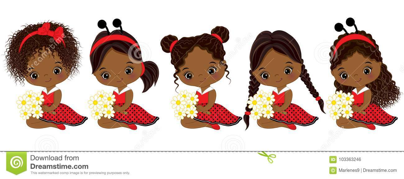 Girl Hairstyles Clipart: Vector Cute Little African American Girls With Various