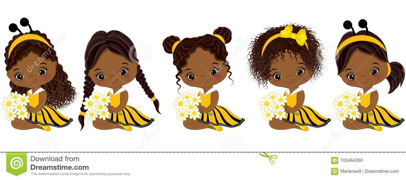 Vector Cute Little African American Girls With Various ...