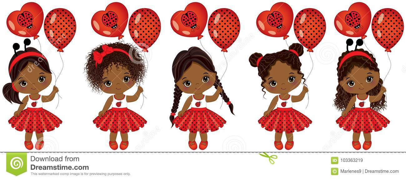 Download Vector Cute Little African American Girls With Various ...