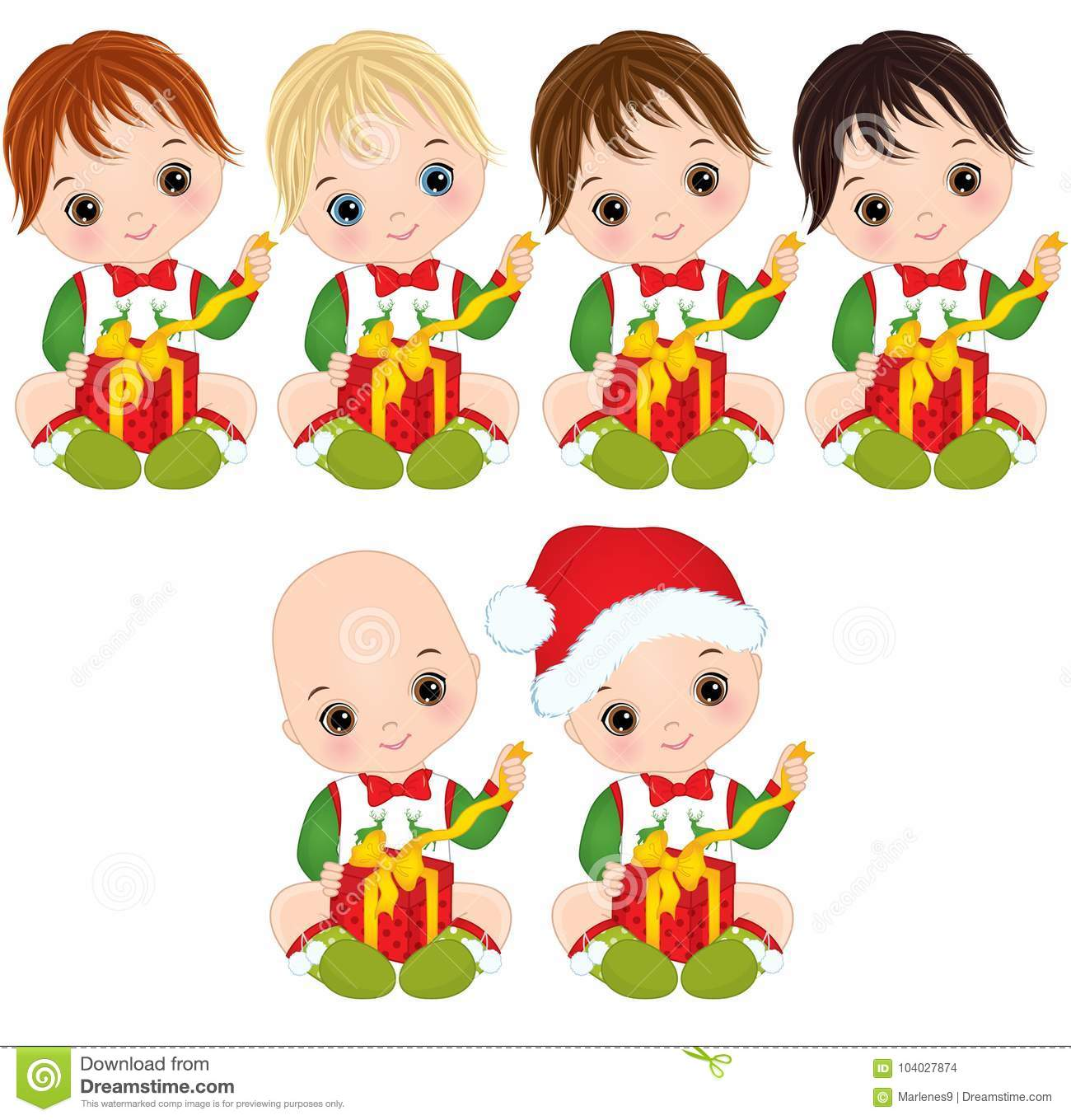 Vector Cute Little Baby Boys Wearing Christmas Clothes Stock Vector ...