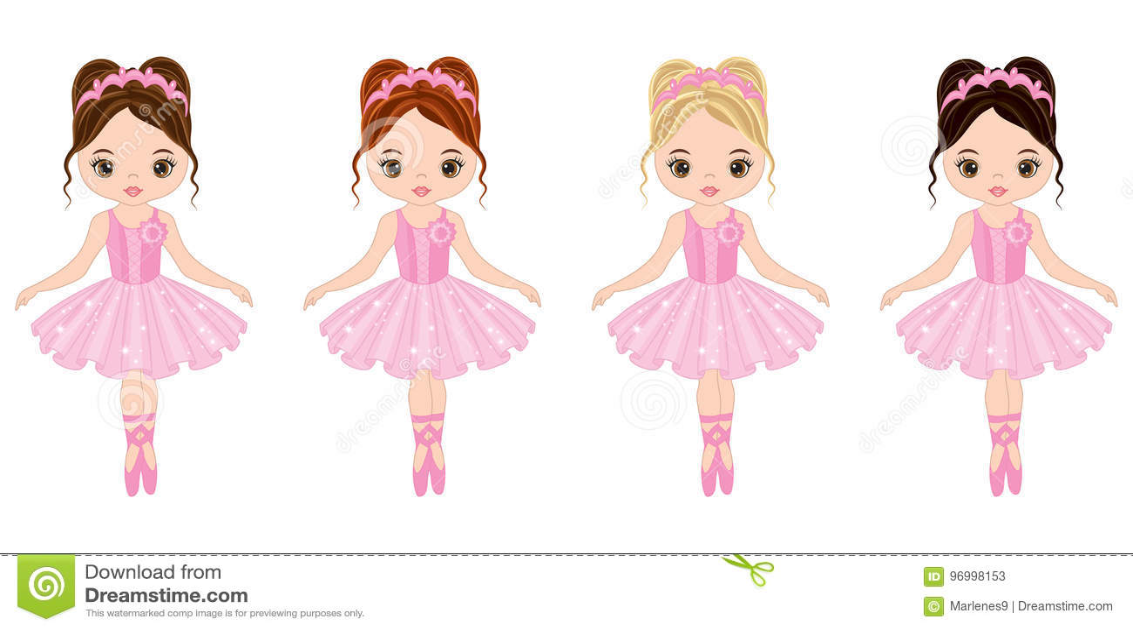 Vector Cute Little Ballerinas With Various Hair Colors