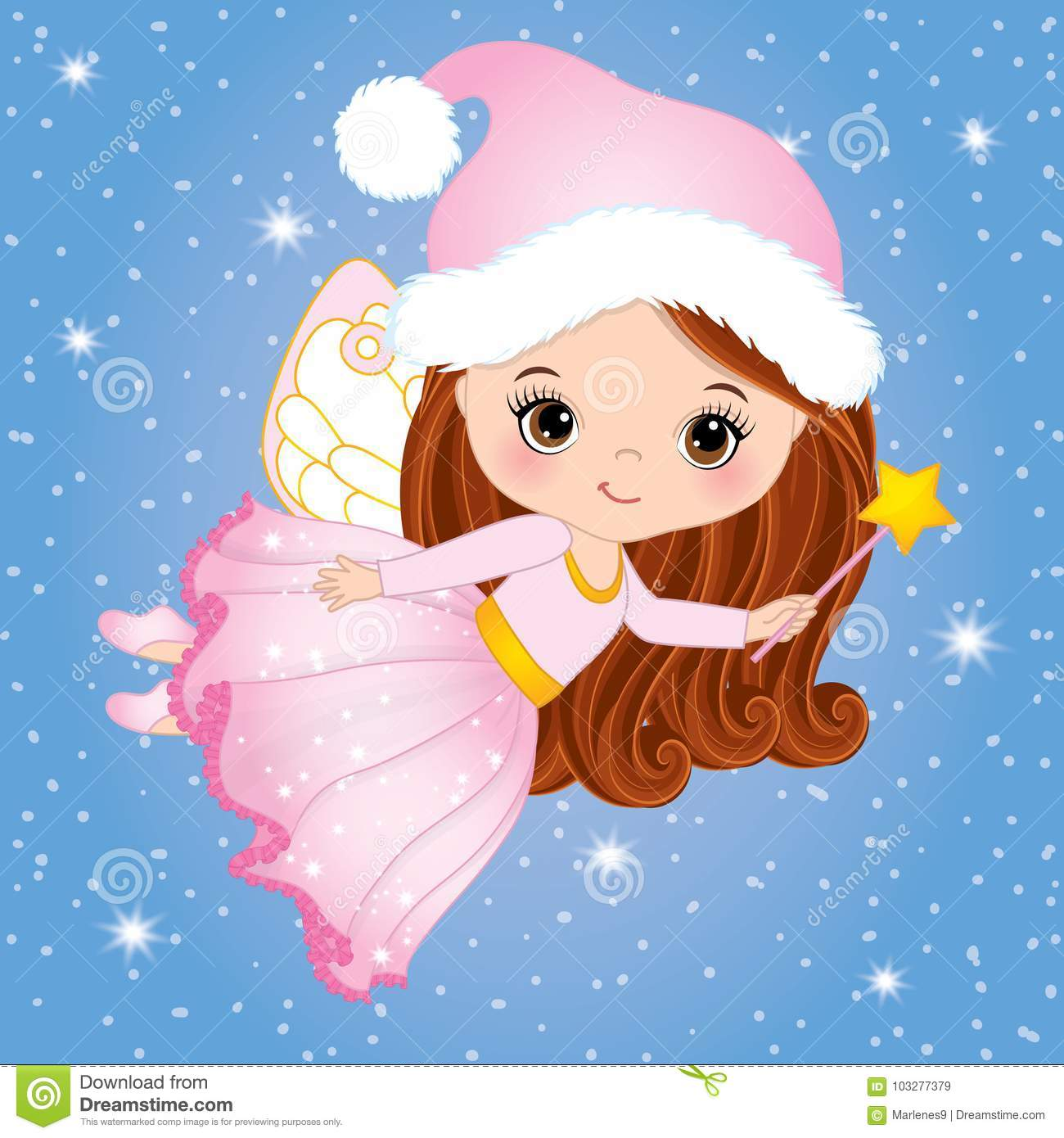 Vector Cute Little Christmas Fairy with Magic Wand Flying