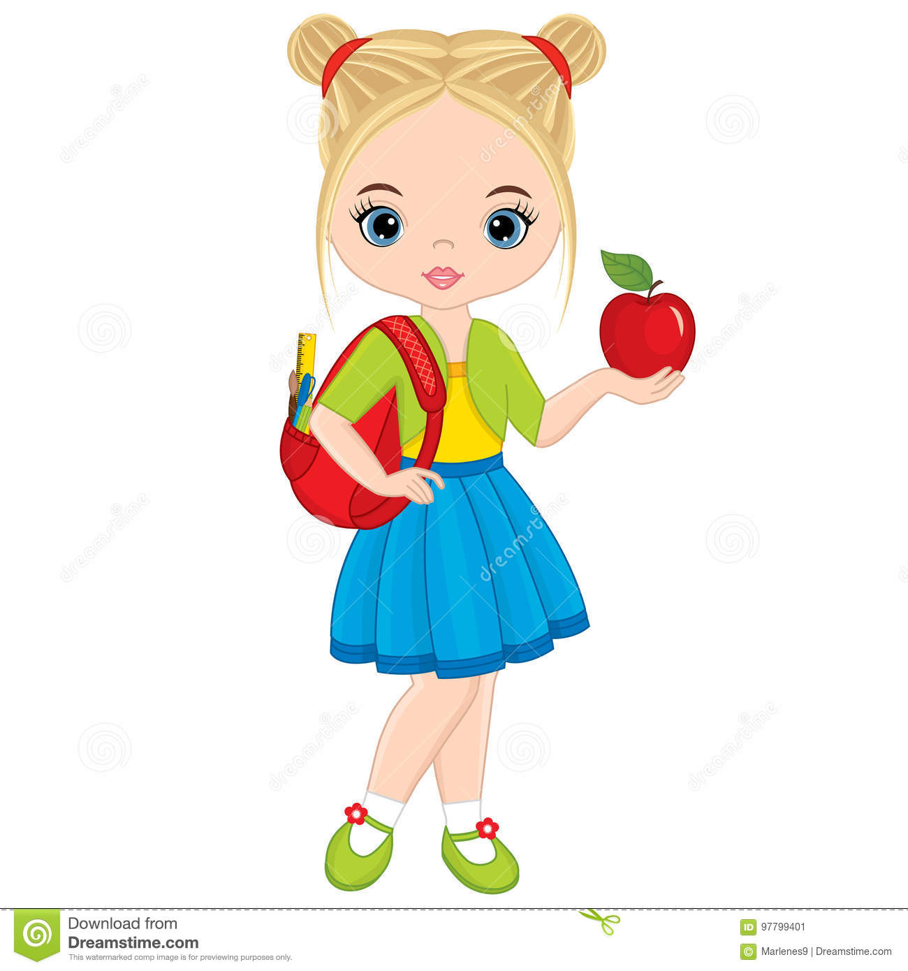 Vector Cute Little Girl with School Bag and Apple