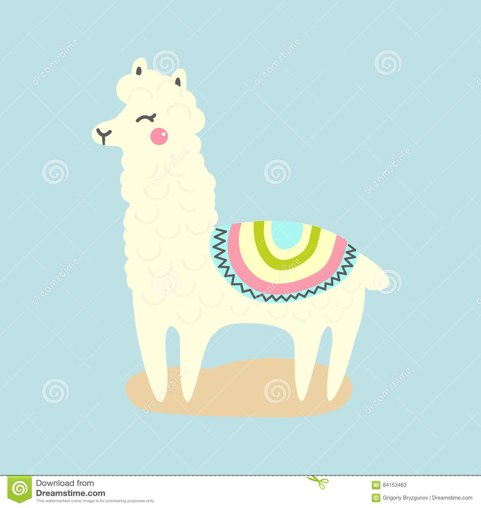 Vector Cute Llama Or Alpaca Illustration. Funny Animal ...