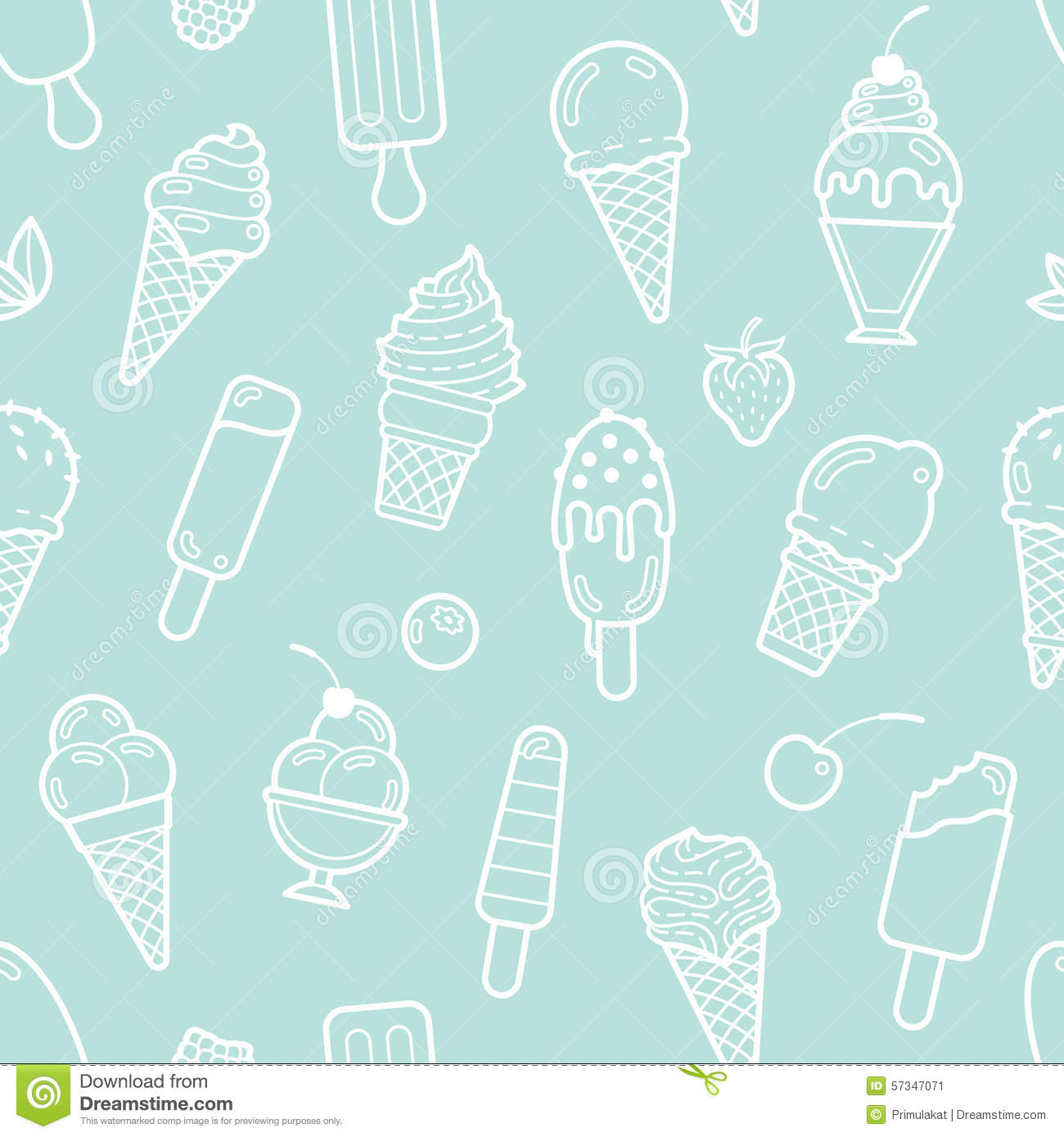 Pattern Cute Colorful Ice Cream Textiles Stock Vector: Vector Cute Mint Seamless Pattern With Ice Creams Stock