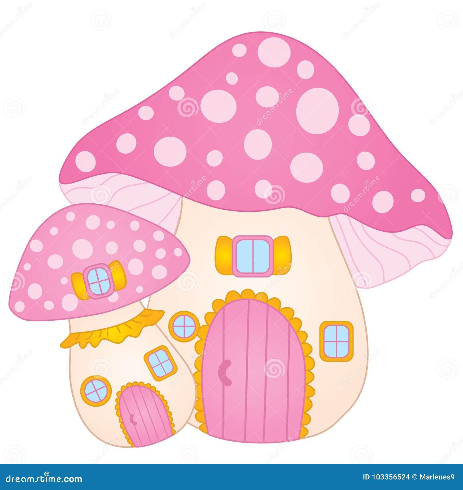 Vector Cute Mushroom House. Vector Amanita House Stock Vector ...