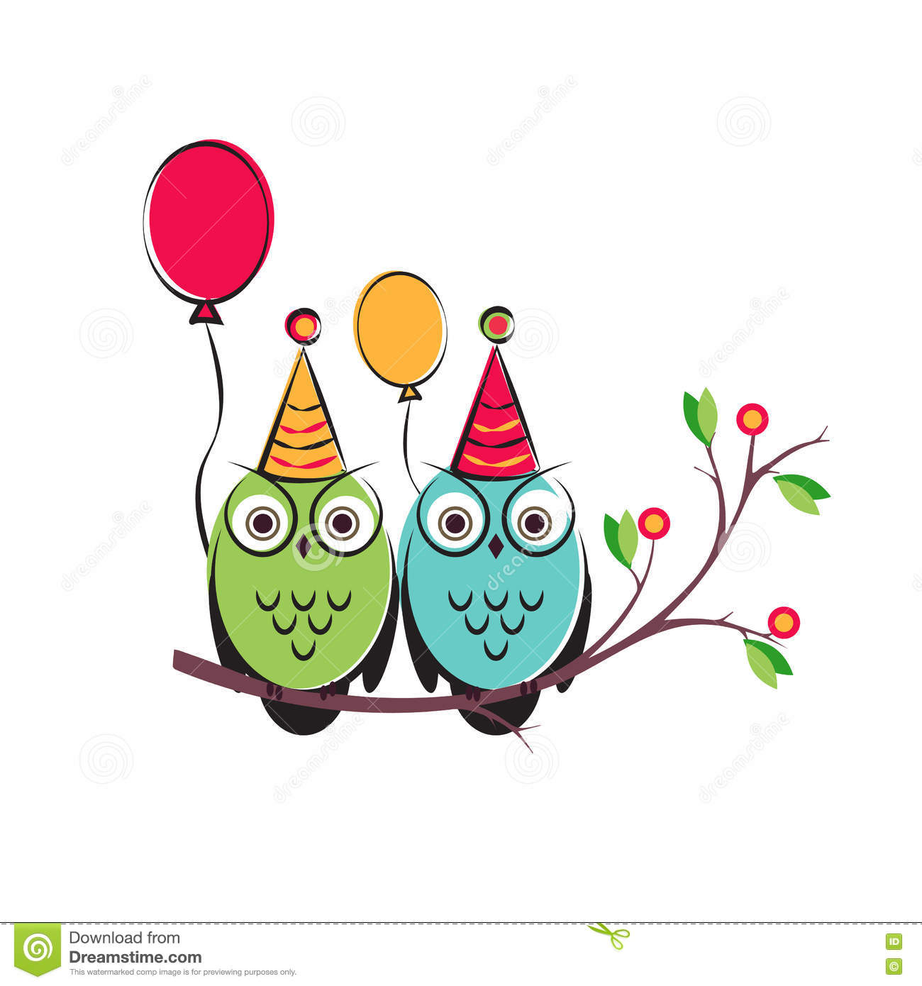 Vector Cute Owls Couple With Balloons On The Tree Branch
