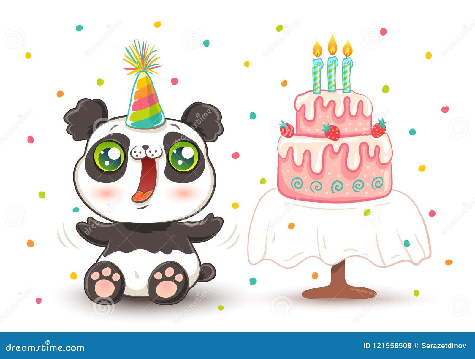 Incredible Cute Panda In Birthday Hat Stock Vector Illustration Of Funny Funny Birthday Cards Online Alyptdamsfinfo