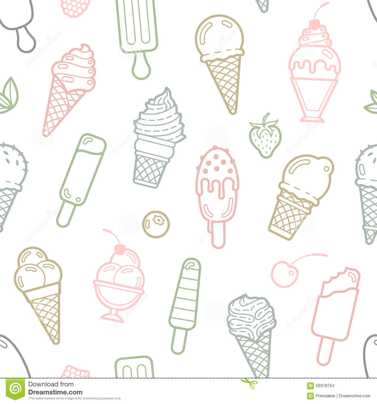 Pattern Cute Colorful Ice Cream Textiles Stock Vector: Vector Cute Pastel Ice Cream Seamless Pattern Stock Vector