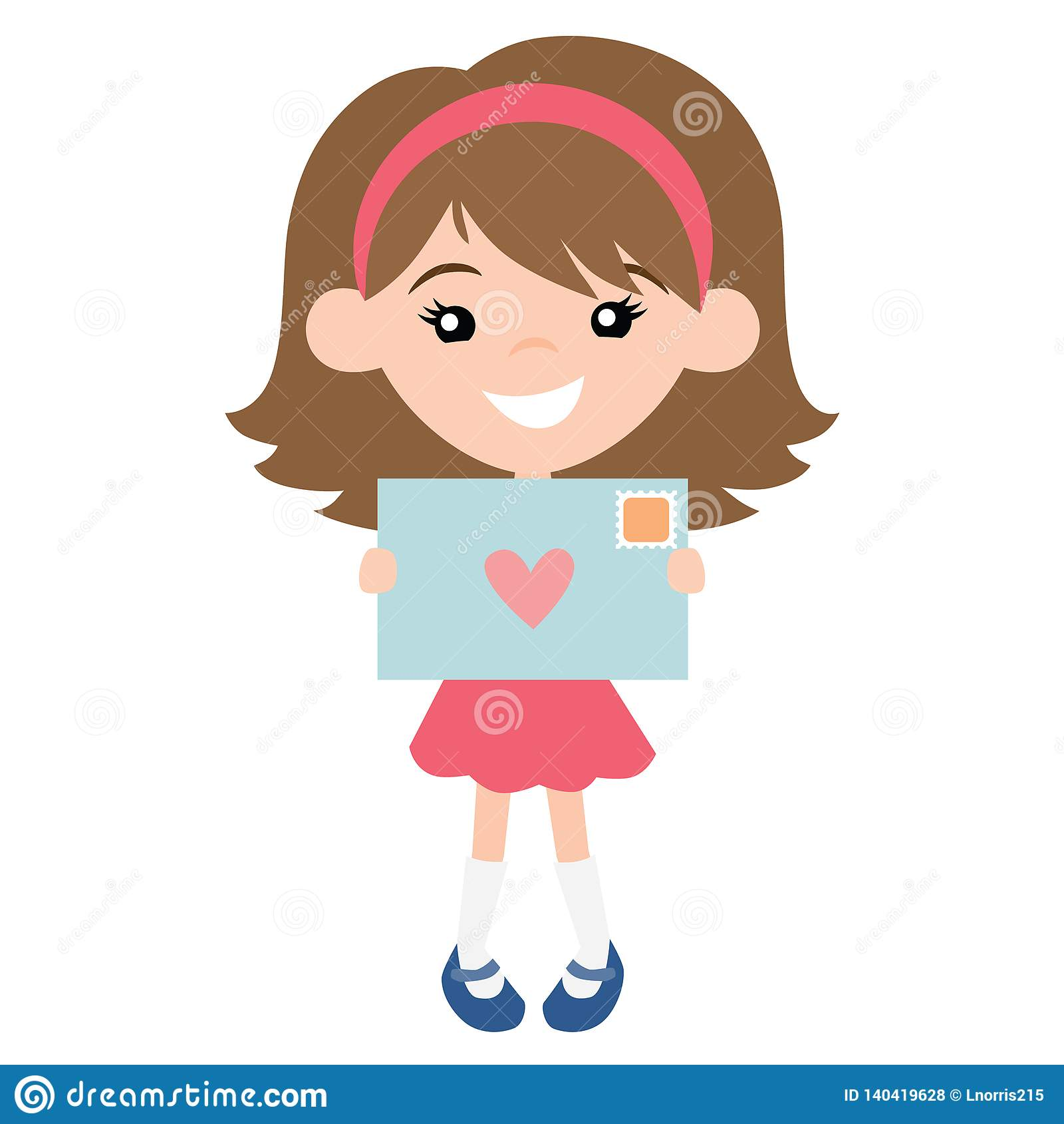 Vector Cute Pen Pal Girl With Envelope Illustration Stock