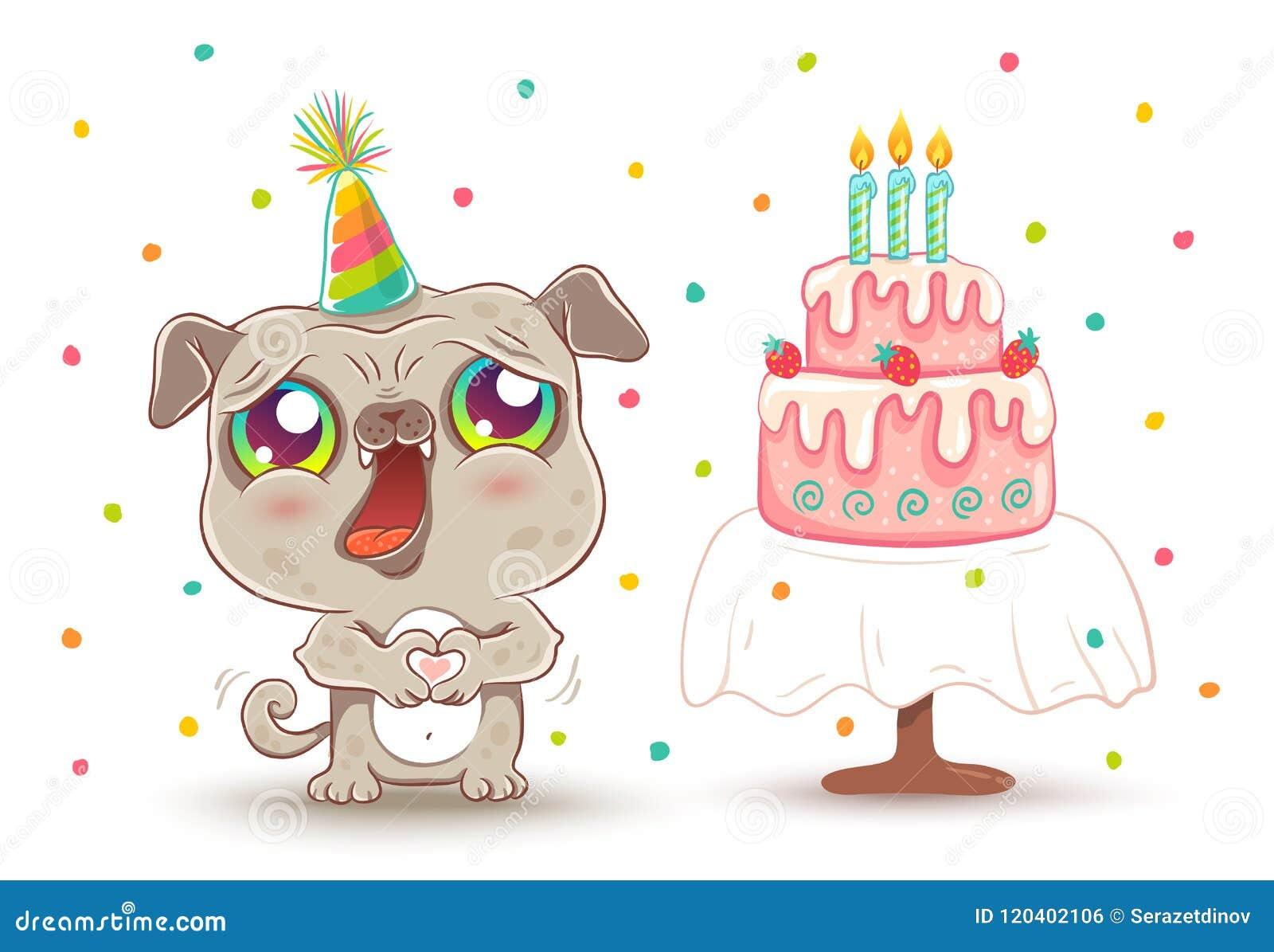 Cute Dog In Birthday Hat Stock Vector Illustration Of Cartoon