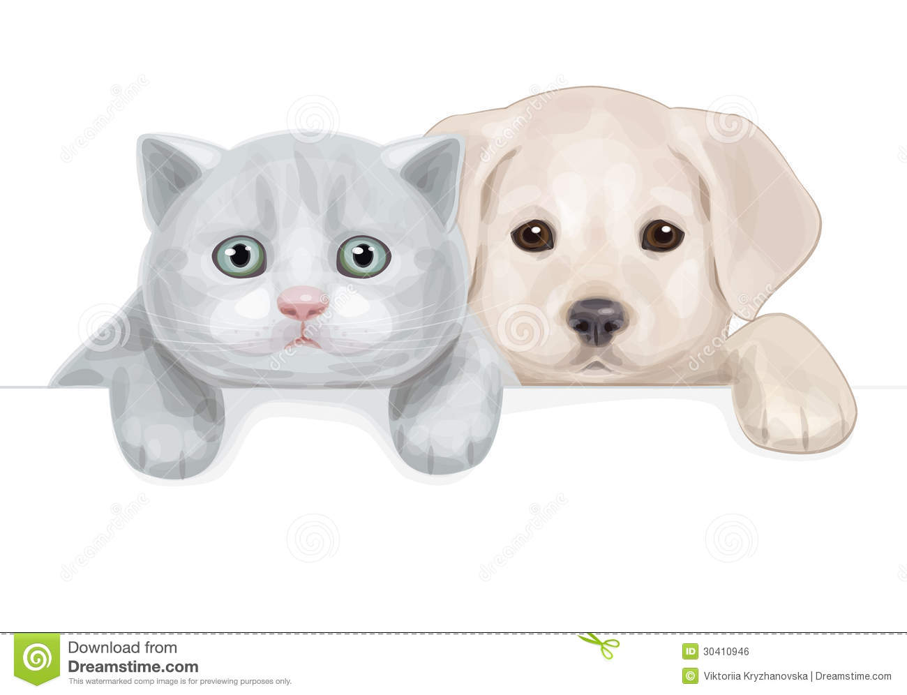 Vector Of Cute Puppy And Kitten Hiding By Blank. Royalty Free Stock ...