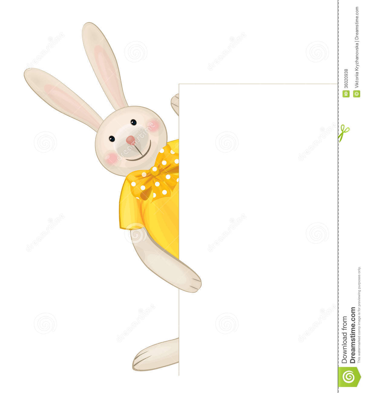 Vector Of Cute Rabbit Hiding By Blank Royalty Free Stock