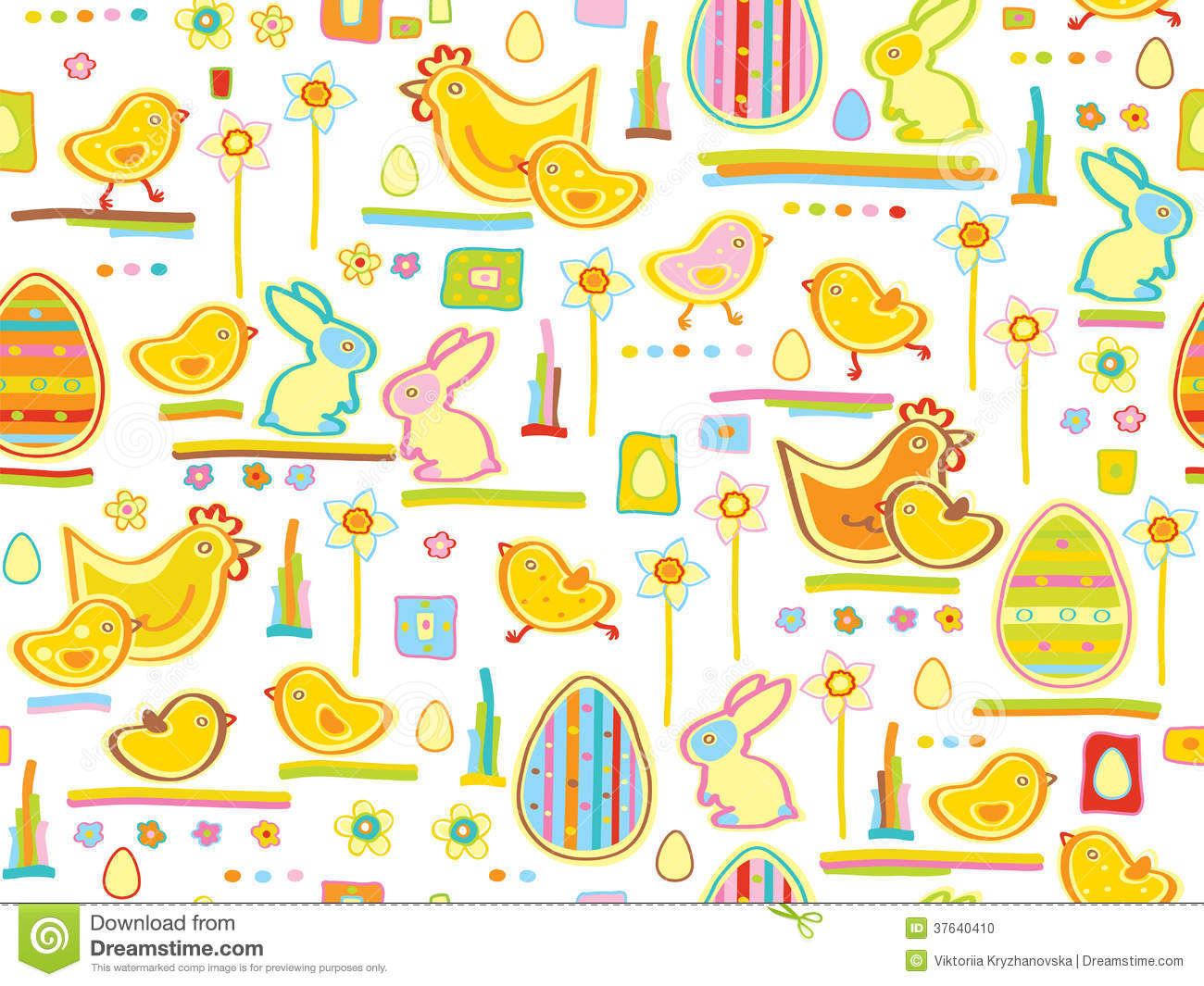 Vector Cute Seamless Pattern, Happy Easter. Stock Photo