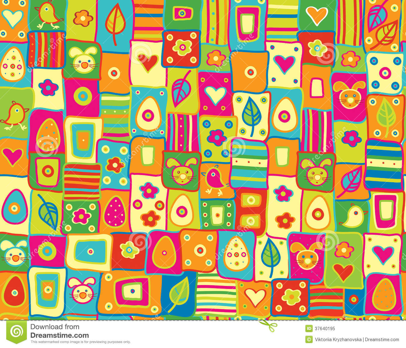 Vector Cute Seamless Pattern Happy Easter Royalty Free Stock Photo