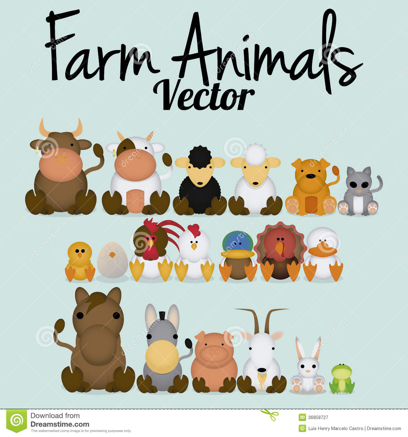 Vector Cute Set Of Different Farm Animals Stock Illustration Illustration Of Farm Collection 36858727