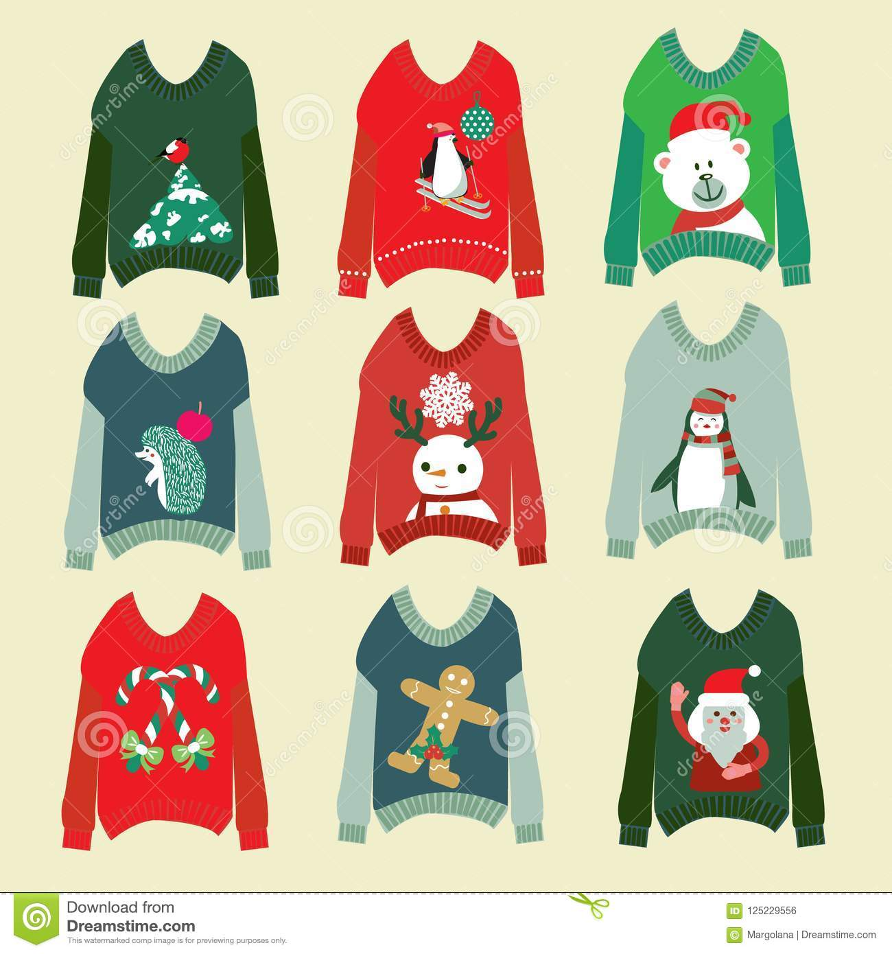 download ugly christmas sweaters set sweater party collection stock vector illustration of decoration greeting