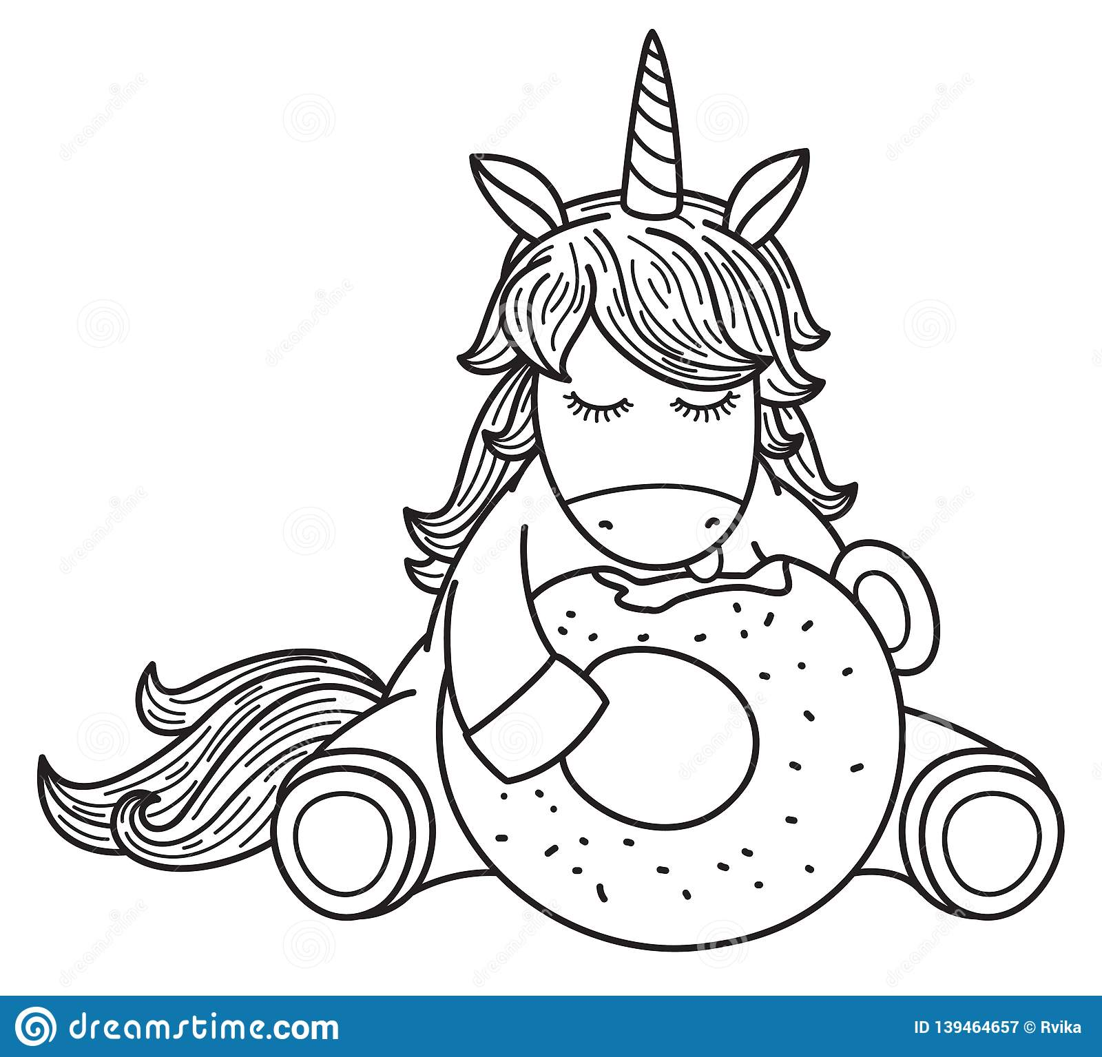 Vector Cute Unicorn Cartoon Eating Donut. Stock Vector ...