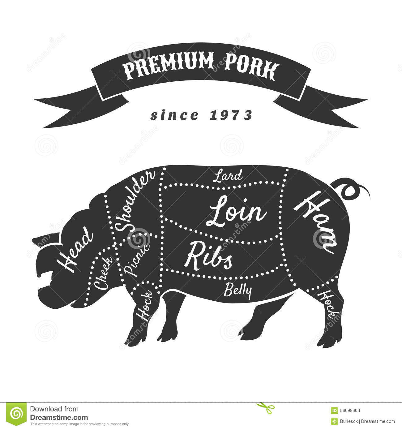 Vector Cuts Of Pork Or Butcher Scheme Pig Stock Vector