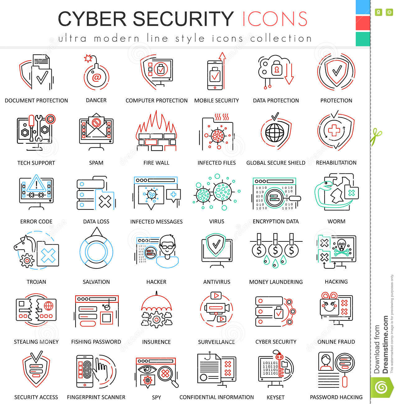 vector cyber security ultra modern color outline line icons for, Powerpoint templates