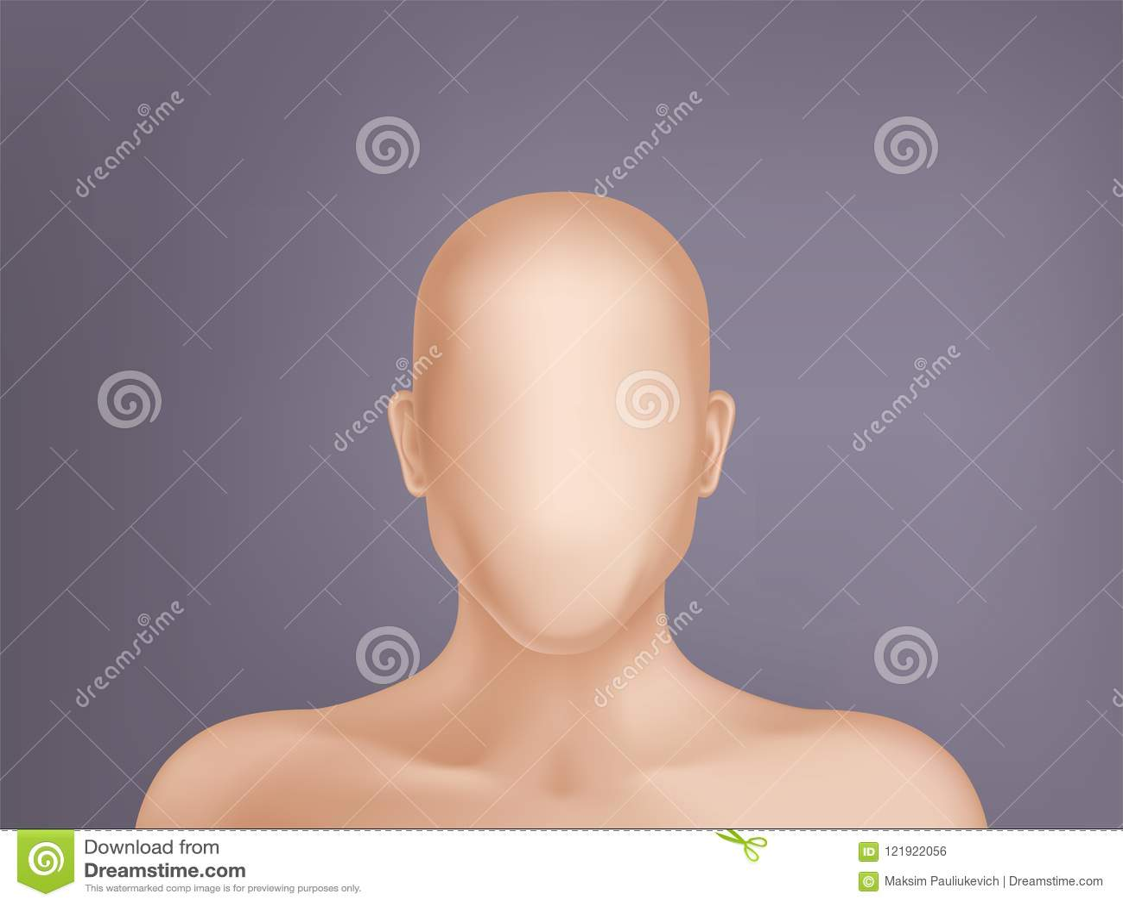 Vector 3d реалистическая человеческая модель, голова без стороны